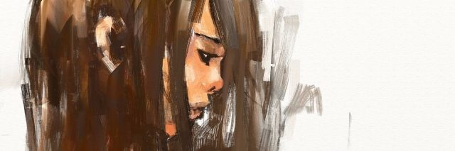 painting of a girl with brown hair.