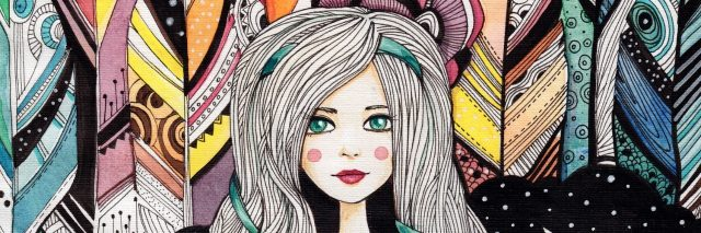 Drawing watercolor beautiful girl with star on abstract background with feathers