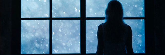 silhouette of woman looking through window at snow