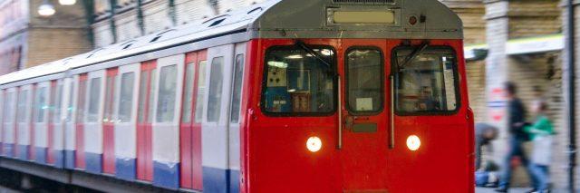 An underground train in London, UK