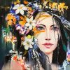 Fantasy portrait of Dryad with flowers. Original oil painting