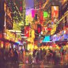 people in city street with illumination and nightlife