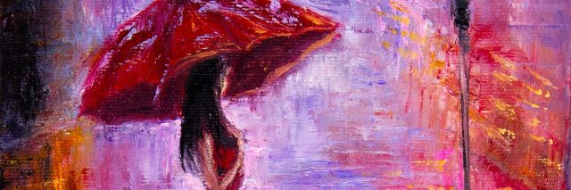 oil painting of woman standing on street holding umbrella