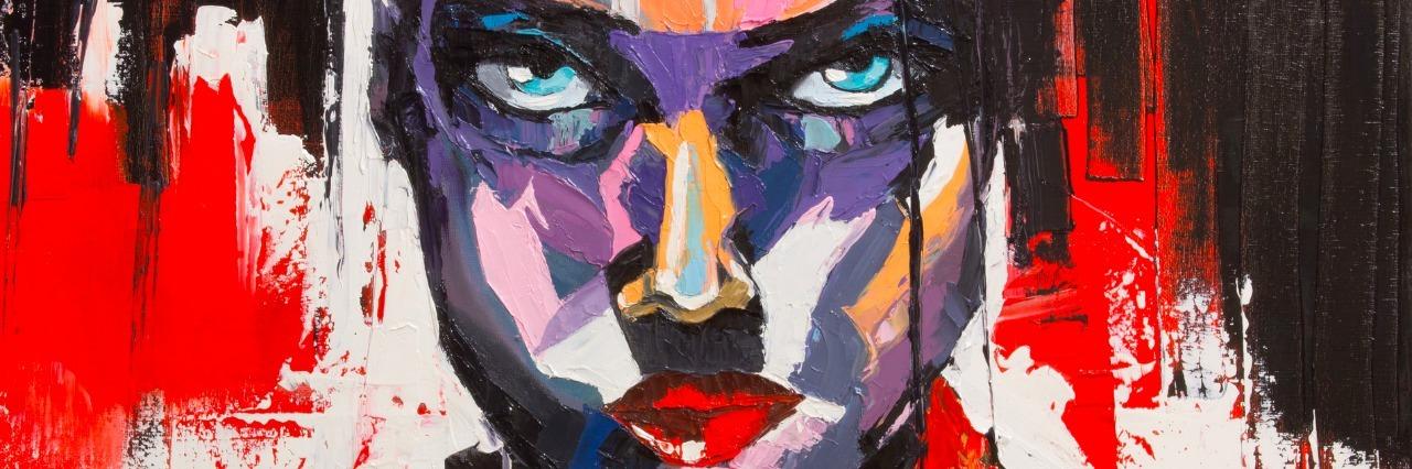 strong woman portrait in vivid colors.