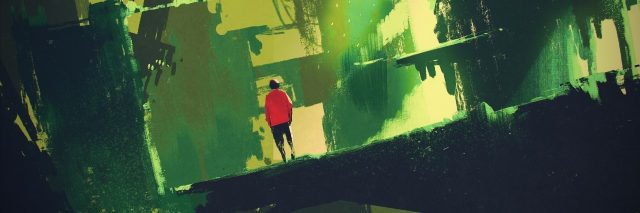 person walking through abstract destroyed city