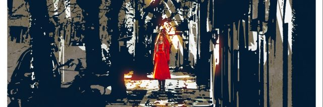 woman in red coat standing on pathway in city park,illustration painting