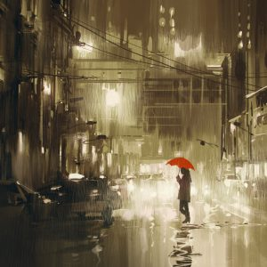 illustration of woman crossing street on rainy night with red umbrella