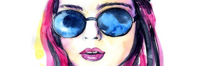 Watercolor fashion lady in sunglasses.