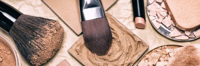 Makeup products - powder, foundation, and makeup brushes