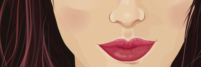 illustration of the lower part of a woman's face with blush and red lipstick