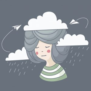 Vector illustration of woman with rainy clouds and her thoughts, airplane, concept idea