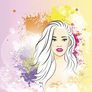 beautiful woman face colorful ink paint splash, young sketch girl vector illustration
