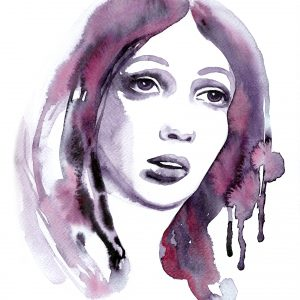 A watercolor painting in pink and lilac shades of a womans face.
