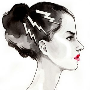 drawing of a woman with lightning bolts in her hair looking angry