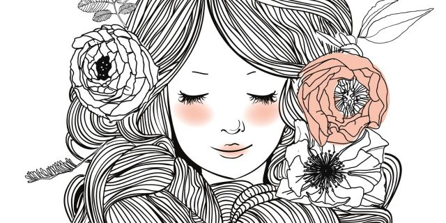 drawing of woman with flowers in her hair