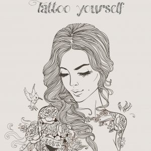 drawing of woman with long hair surrounded by flowers and butterflies