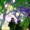 Illustration of two people walking through park with light coming through trees