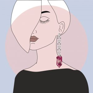 Hand drawn women with an earring made of silver and ruby. Template for jewelery display.