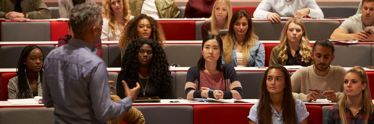 Students at a university lecture.
