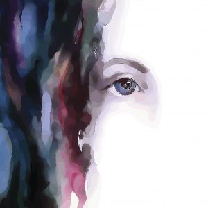 Woman water color, close up on eye.