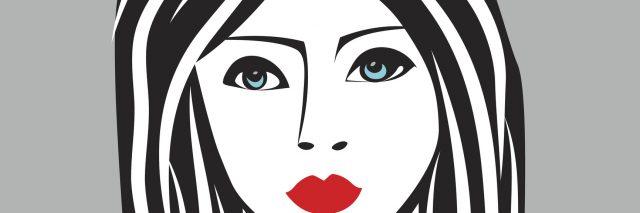 Beauty girl face sketch, woman face vector portrait. Hair wave.