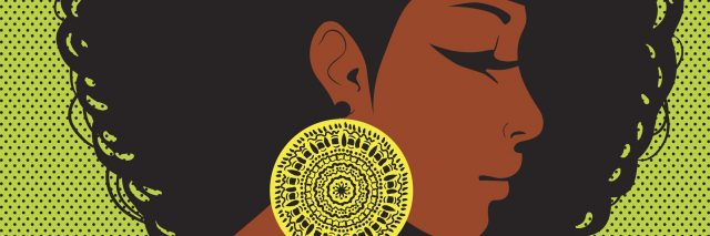 profile silhouette, African-American woman with hair in the style of disco, ear ornament in ethnic style