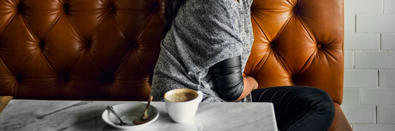 Woman Drinks Coffee Shop Lonely Concept