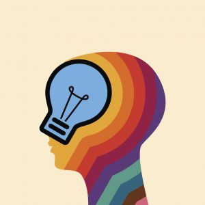 Bright idea form human head, thinking about success solution.