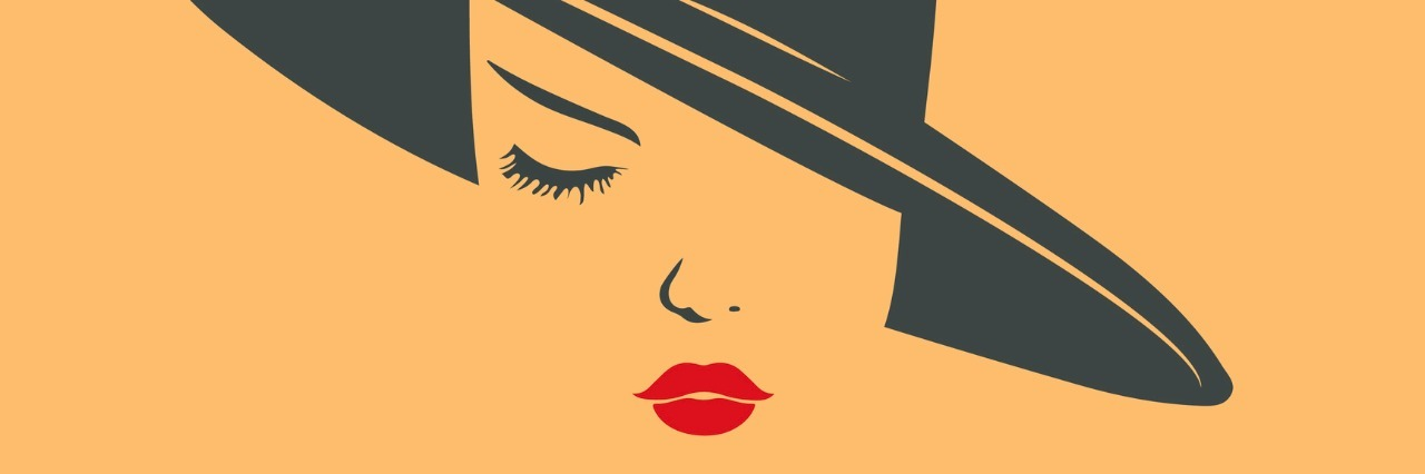 Woman hat and lips icon