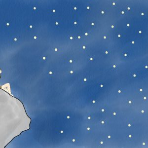 Girl sits on cliff at night, looking at stars.