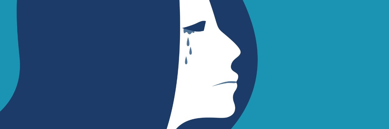blue illustration of a woman crying
