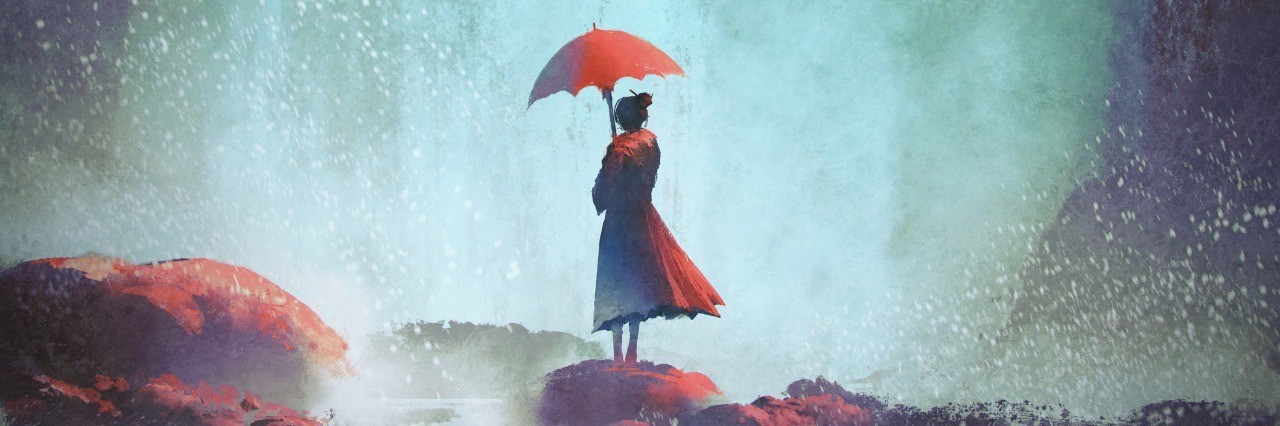 illustration of woman holding an umbrella and standing on rocks under a waterfall