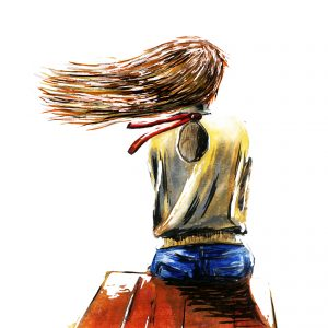 Woman sitting on end of a pier, hair blowing in the wind. Water color.
