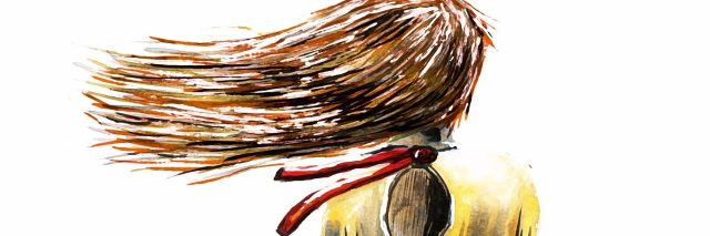 drawing of girl sitting with hair blowing in wind from behind