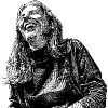 black and white drawing of a woman laughing