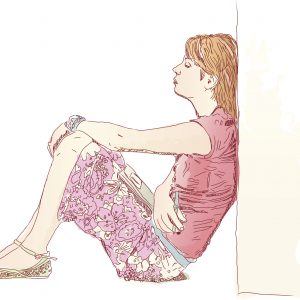 drawing of woman sitting against wall
