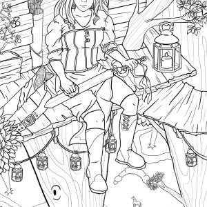 Illustration of woman holding sword, sitting in a treehouse next to a lantern, with horses on the ground below the tree