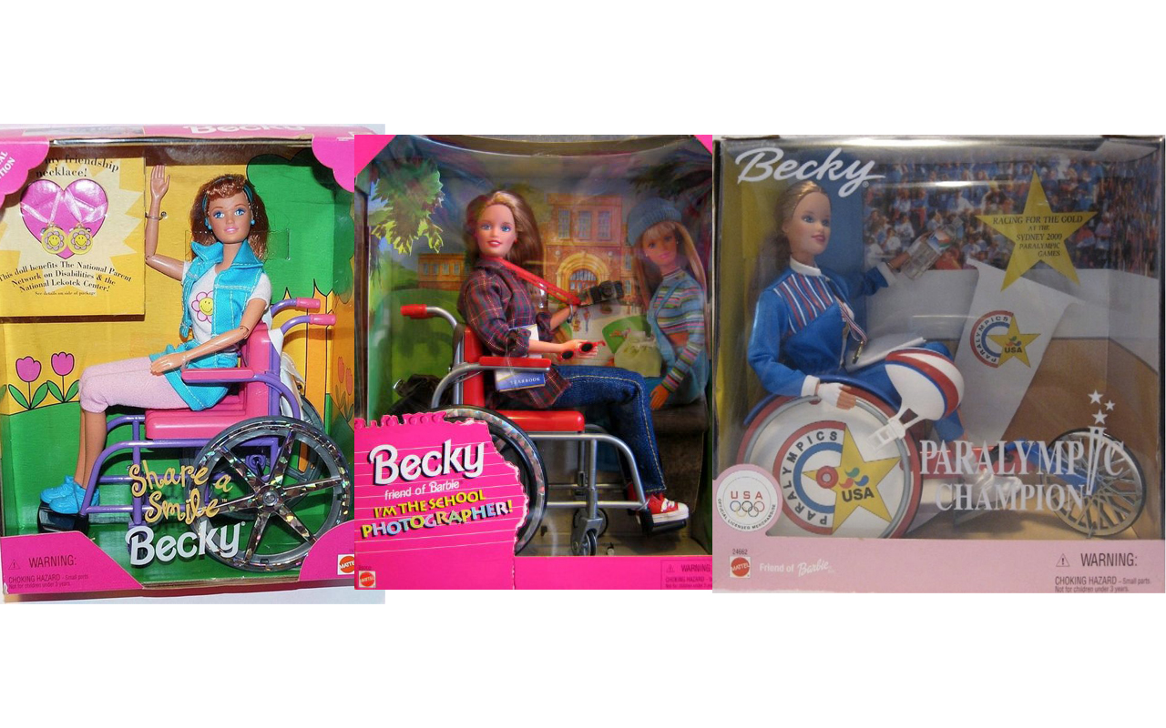 Becky wheelchair doll banner showing Share a Smile, School Photographer and Paralympic Becky.