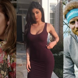 collage of celebrities. From left to right: Lady Gaga, Kylie Jenner, Prince Harry