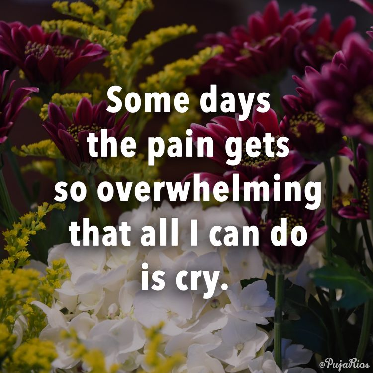 'some days the pain gets so overwhelming that all I can do is cry'