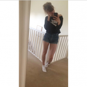selfie of girl in shorts