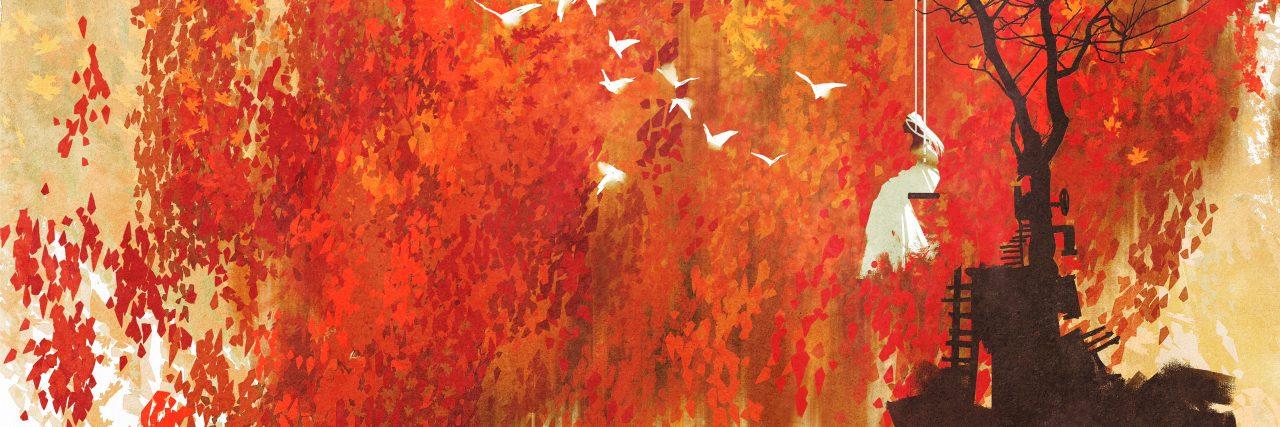 woman on a swing under autumn tree,illustration painting