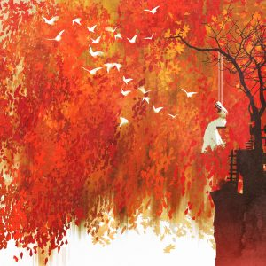 woman on a swing under autumn tree,illustration painting