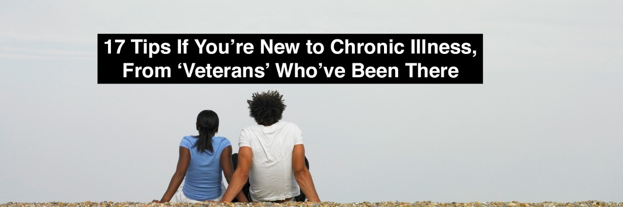 Couple sitting together at beach with text 17 tips if youre new to chronic illness from veterans whove been there