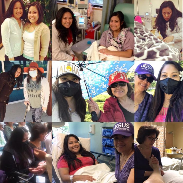 collage of photos of girl in hospital and her mom