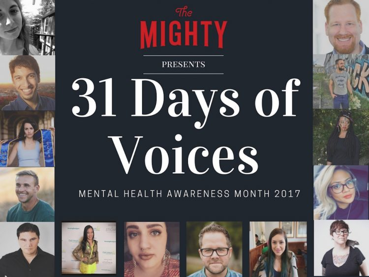 text reads: The Mighty presents, 31 days of voices. graphic is bordered by pictures of people