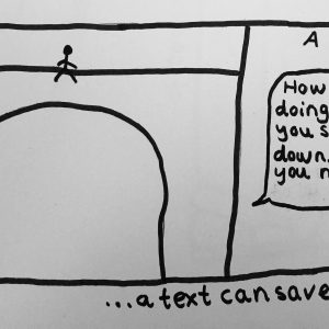 doodle of person sitting on bridge, suicide attempt, and receiving a text message from a friend asking if they are OK