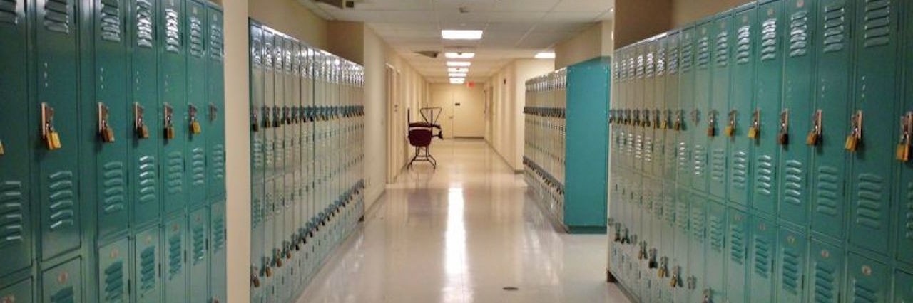school hallway of lockers