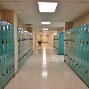 school hallway of lockers