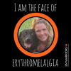 woman and her dog in the middle of the 'i am the face of erythromelalgia' logo